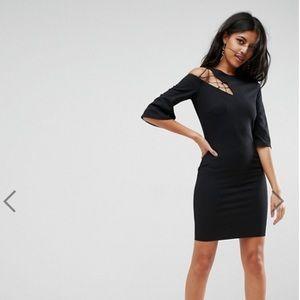 ASOS Black 3/4 Sleeve Lace Up Shoulder Shift Dress